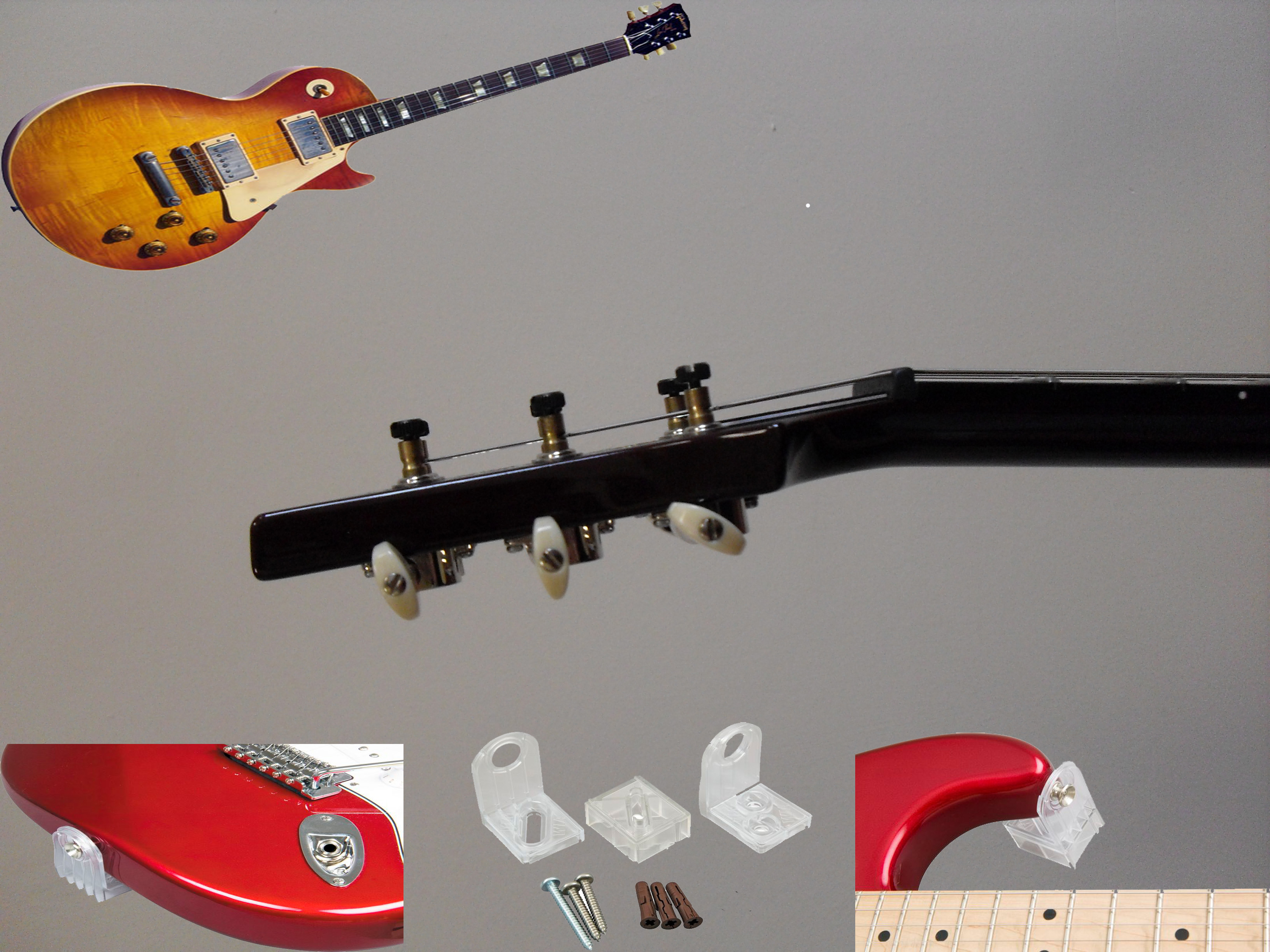 Hanger 2 Lespaul Style Angled Head Woodies Invisible